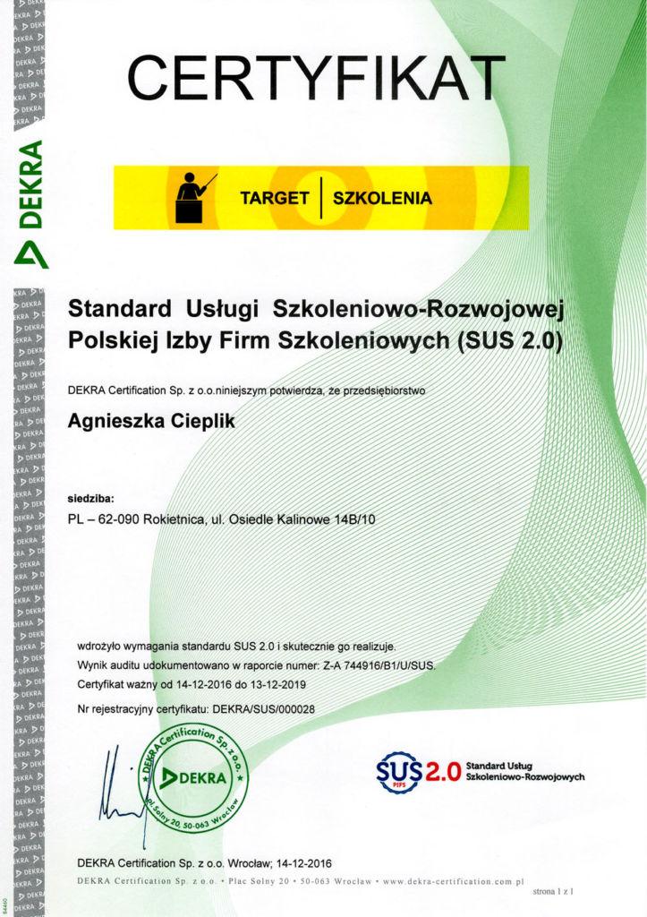 Standard Usługi Szkoleniowo-Rozwojowej Polskiej Izby Firm Szkoleniowych (SUS 2.0)