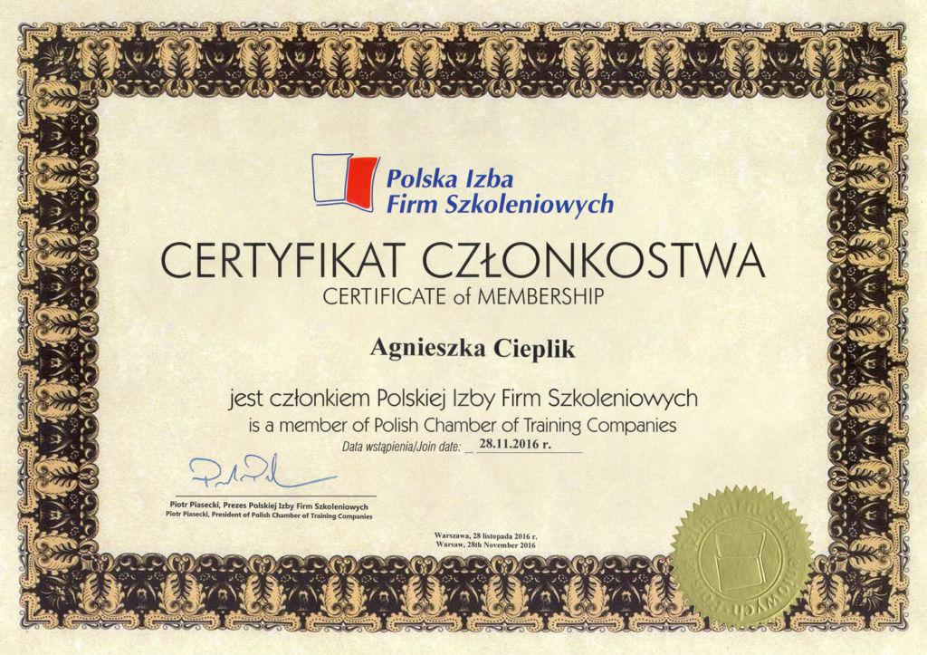 Polska Izba Firm Szkoleniowych - Certyfikat Członkostwa