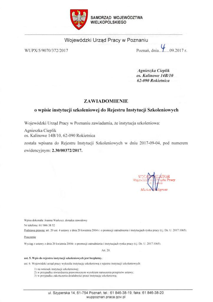 Wpis instytucji szkoleniowej do Rejestru Instytucji Szkoleniowych